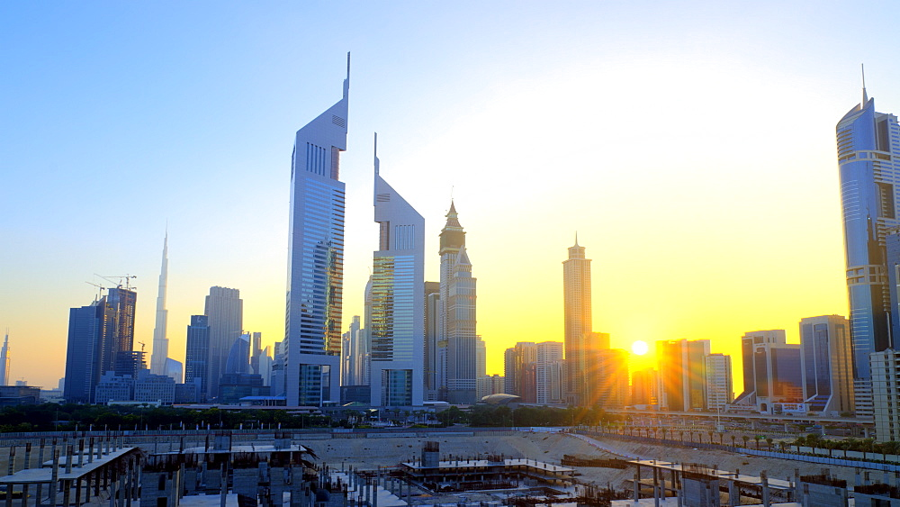 Sheikh Zayed Road with Emirates Towers in centre, Dubai, United Arab Emirates, Middle East