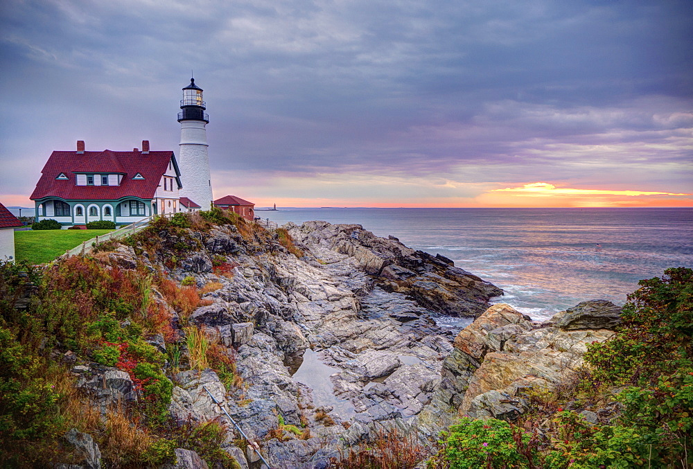 Portland Head Lighthouse at sunrise, Portland, Maine, New England, United States of America, North America
