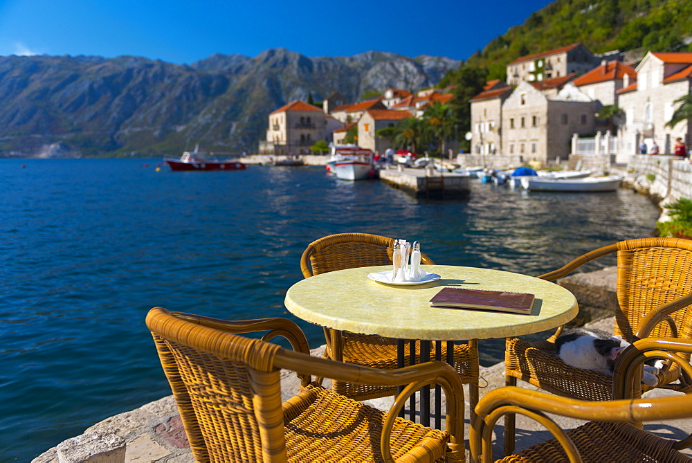 Montenegro, Bay of Kotor, Perast, Waterside Cafe