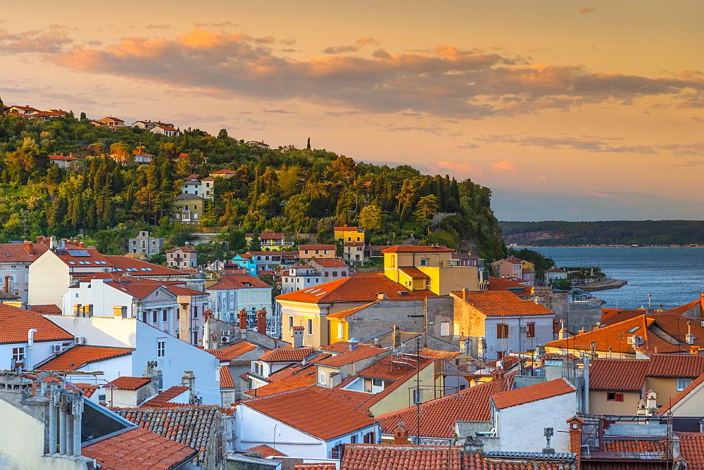 Old Town rooftops, Piran, Primorska, Slovenian Istria, Slovenia, Europe