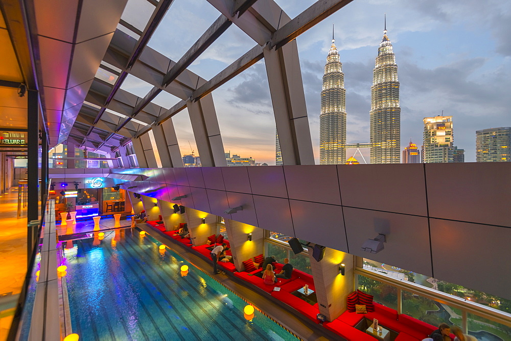 Petronas Towers viewed from Skybar of Traders Hotel, Kuala Lumpur, Malaysia, Southeast Asia, Asia