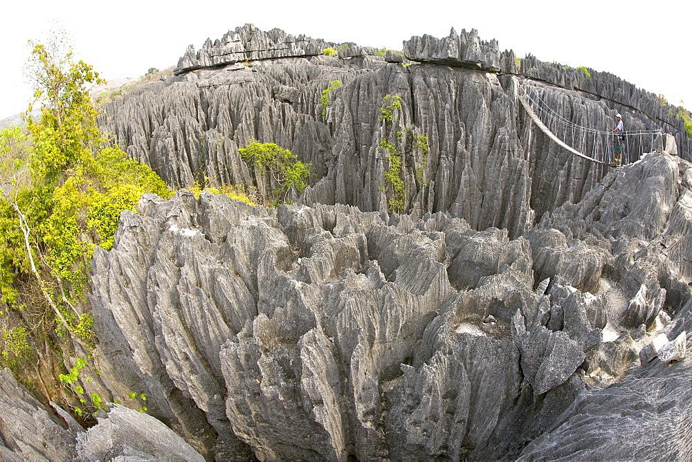 Fish-eye lens view across the Grand Tsingy landscape of limestone karst in the Tsingy de Bemaraha National Park, UNESCO World Heritage Site, western Madagascar, Madagascar, Africa