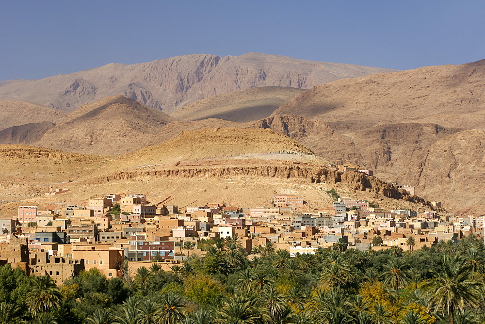 A village and surrounding plantations at the beginning of the Todra Gorge in the vicinity of Tinehir in the High Atlas mountains of Morocco