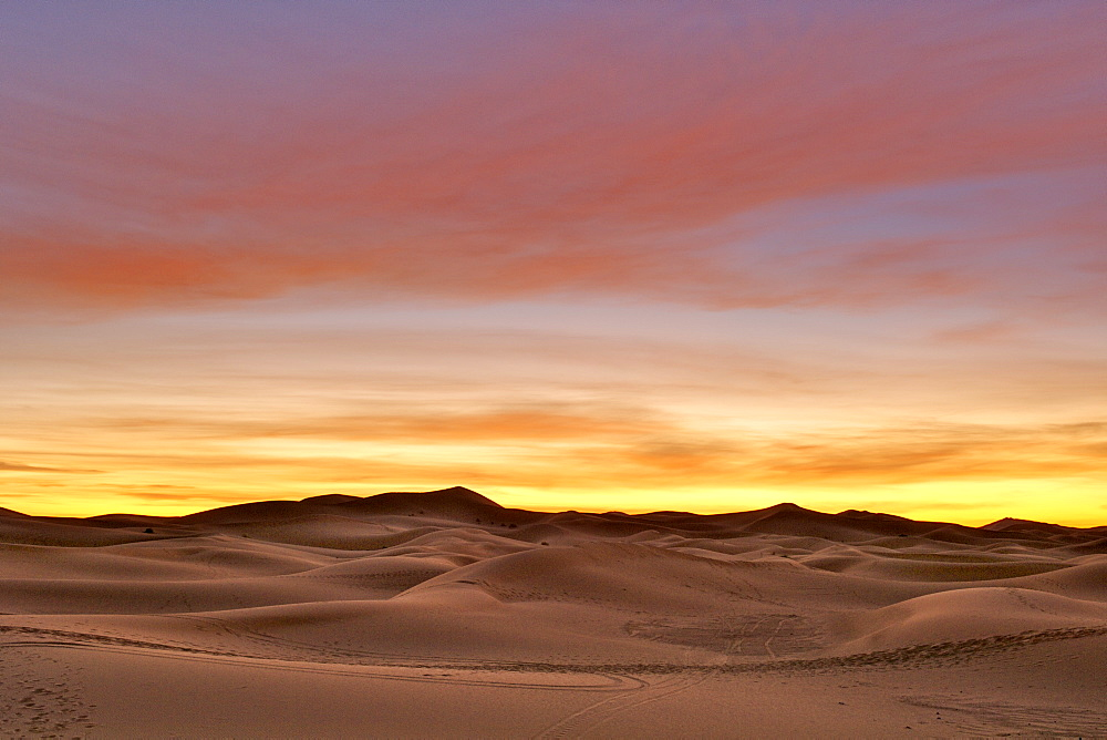 Dawn over the Erg Chebbi Saharan sand dunes near the town of Merzouga in eastern Morocco