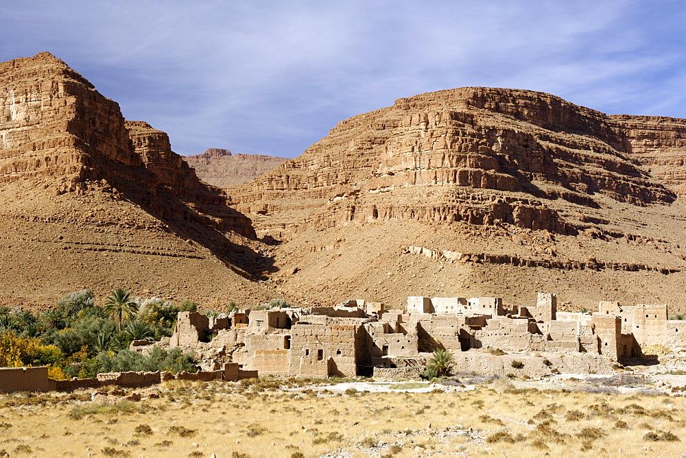 Afra Kasr in the Ziz valley along the Ziz River in Morocco
