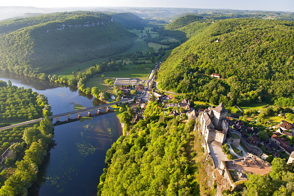 Aerial view of Castelnaud castle (Chateau Castelnaud) and the Dordogne river and surrounding countryside near Sarlat in the Dordogne-Perigord region, France, Europe