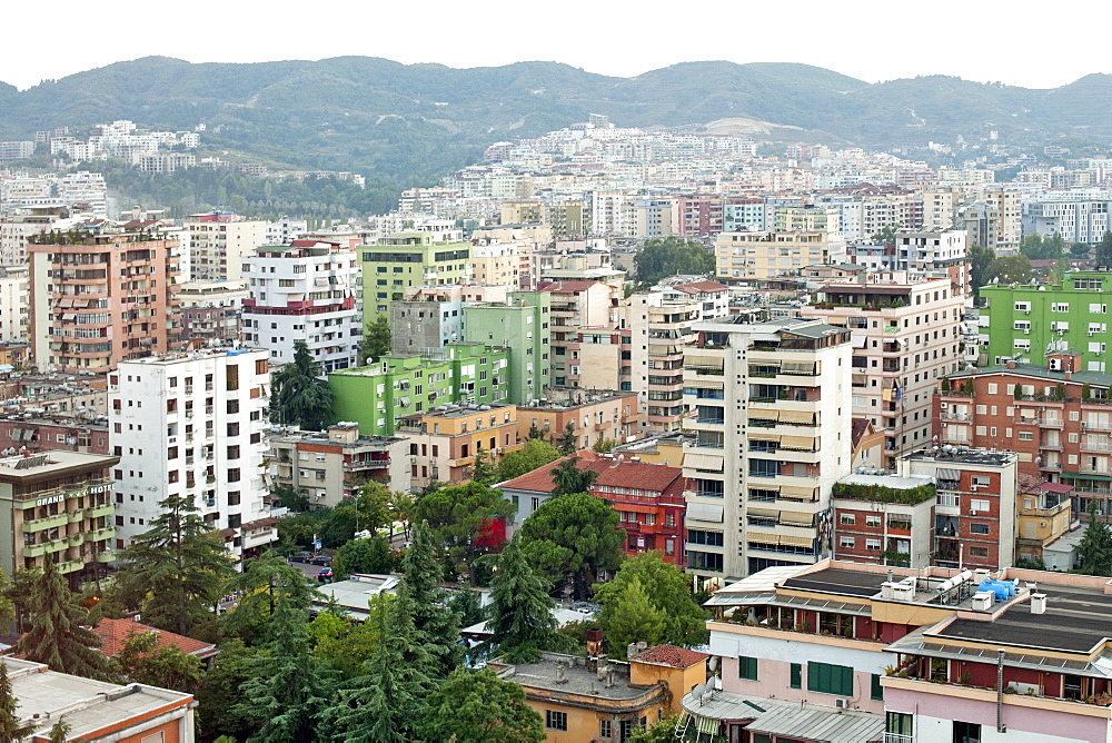 View across the city of Tirana, capital of Albania, Europe