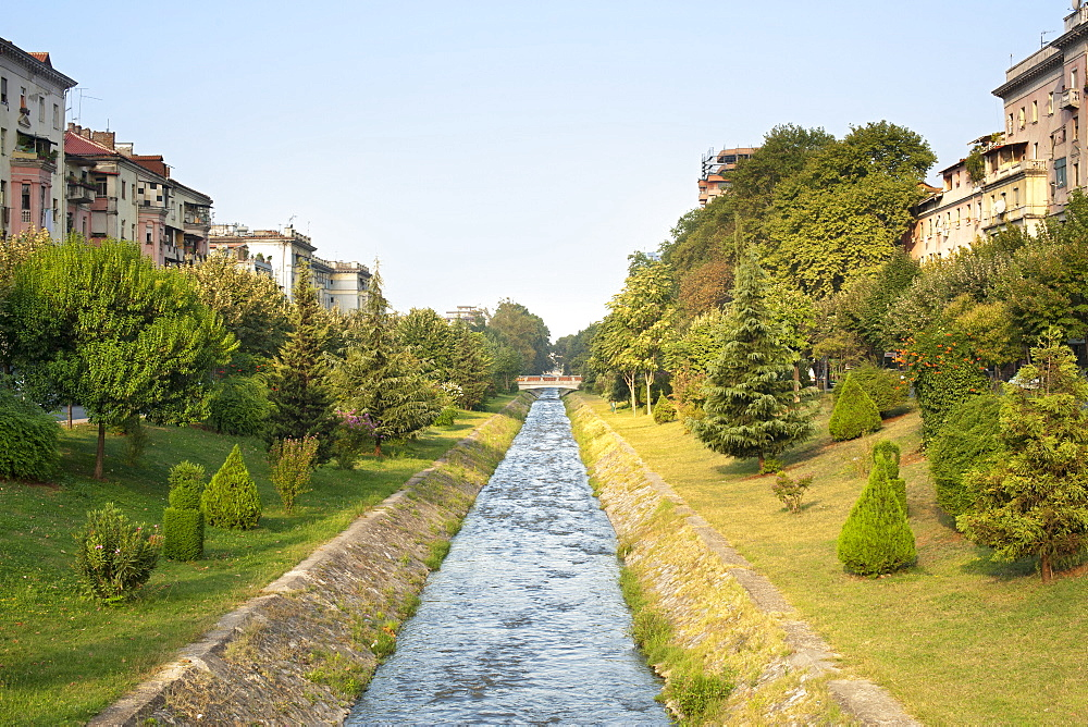 The Lana River in Tirana, capital of Albania, Europe