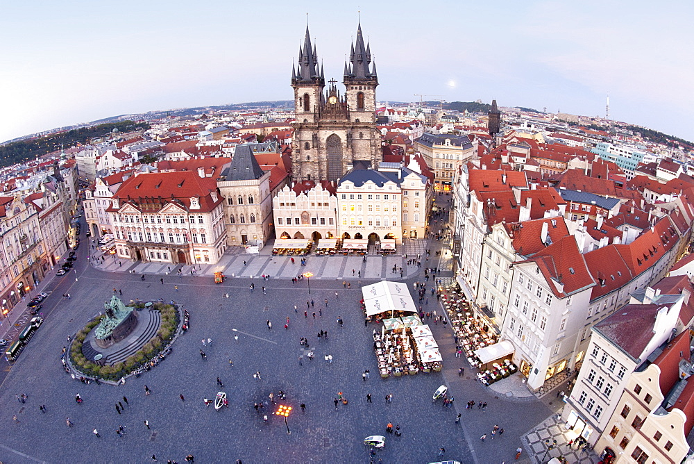 Staromestske namesti (Old Town Square) and the Church of Our Lady before Tyn, Prague, Czech Republic, Europe