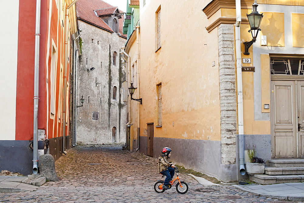 A toddler on a bicycle in Lai street in the old town, Tallinn, Estonia, Baltic States, Europe