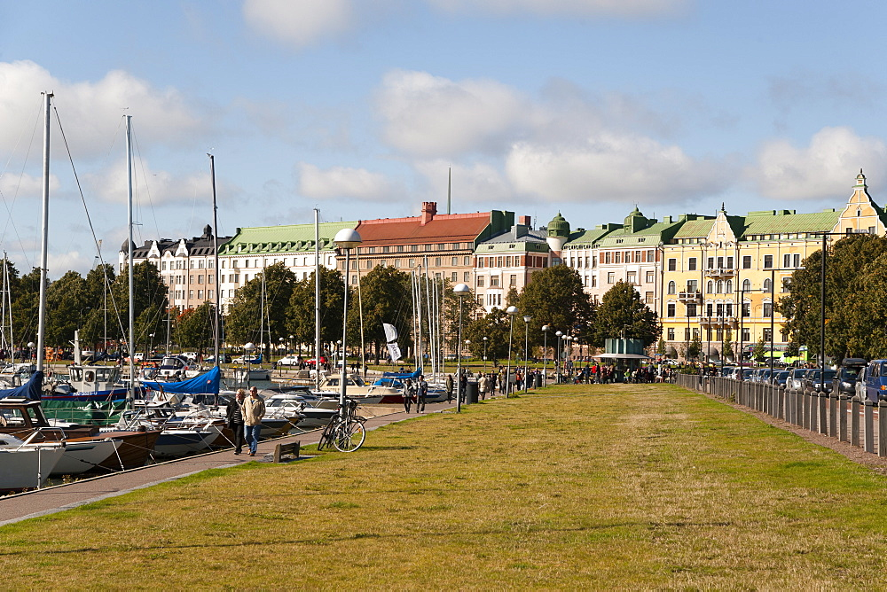 Merisatama port and promenade and buildings on the prestigious Merikatu Street in Helsinki, Finland, Scandinavia, Europe