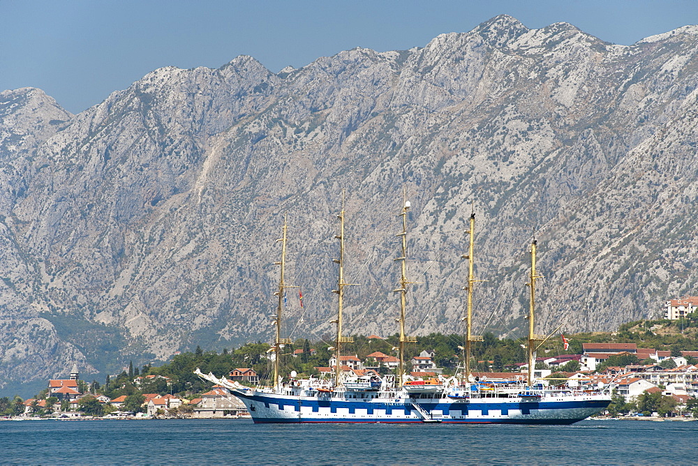 Tall sailing ship anchored in Kotor Bay, UNESCO World Heritage Site, Montenegro, Europe