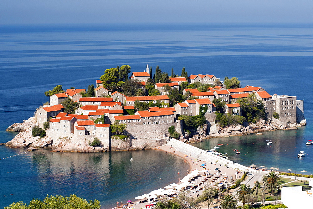 Sveti Stefan (St. Stefan) island on the Adriatic coast of Montenegro, Europe