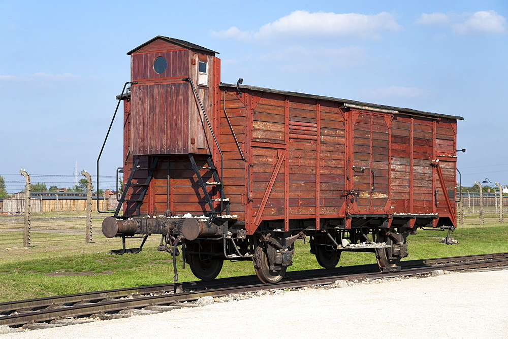 A Guterwagen (goods wagon) on display at the museum of the former Auschwitz II-Birkenau concentration camp, UNESCO World Heritage Site, southern Poland, Europe