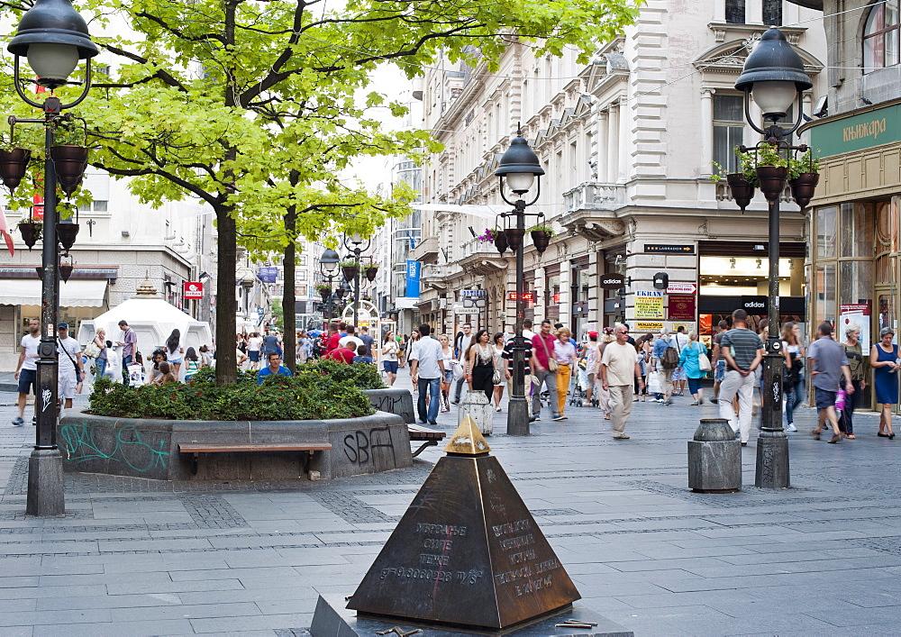 Pedestrians walking along Kneza Mihaila street in Belgrade, the capital of Serbia, Europe