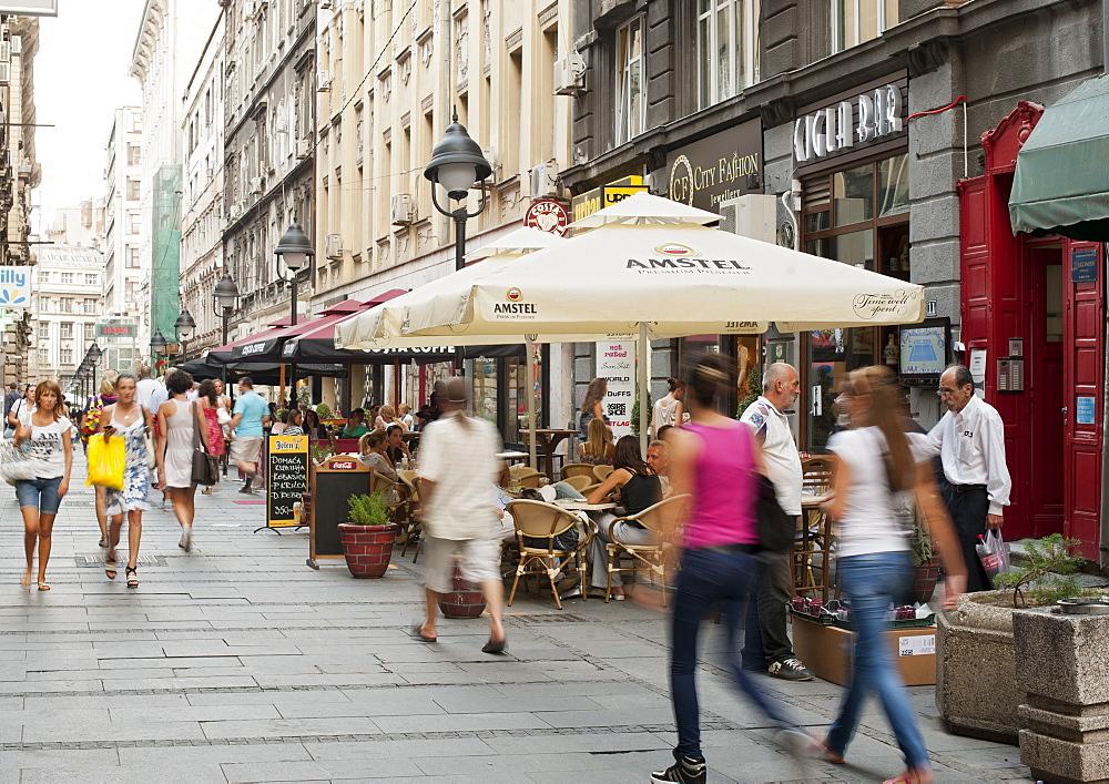 Pedestrians on Cika Ljubina Street in Belgrade, Serbia, Europe