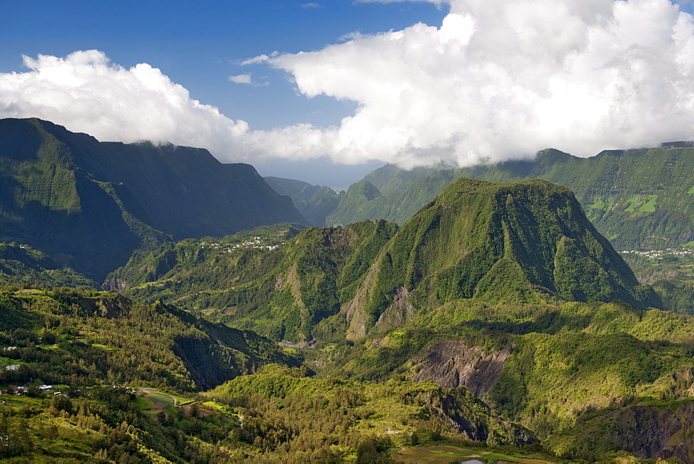 View across the Cirque de Salazie caldera on the French island of Reunion in the Indian Ocean, Africa
