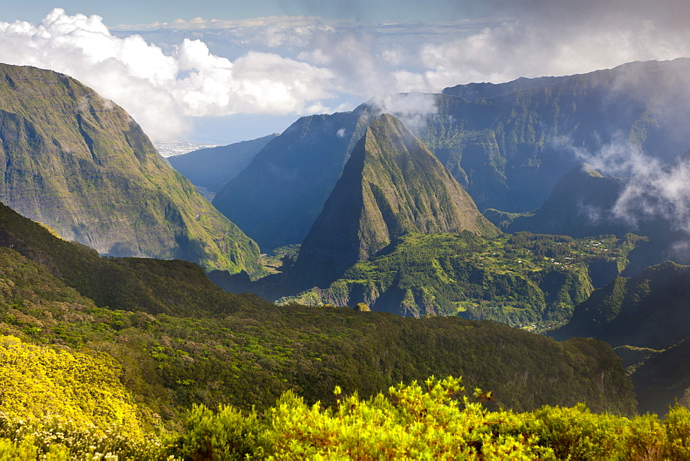 View of the Cirque de Mafate caldera and the Piton Cabri peak, 1435m, on the French island of Reunion in the Indian Ocean, Africa