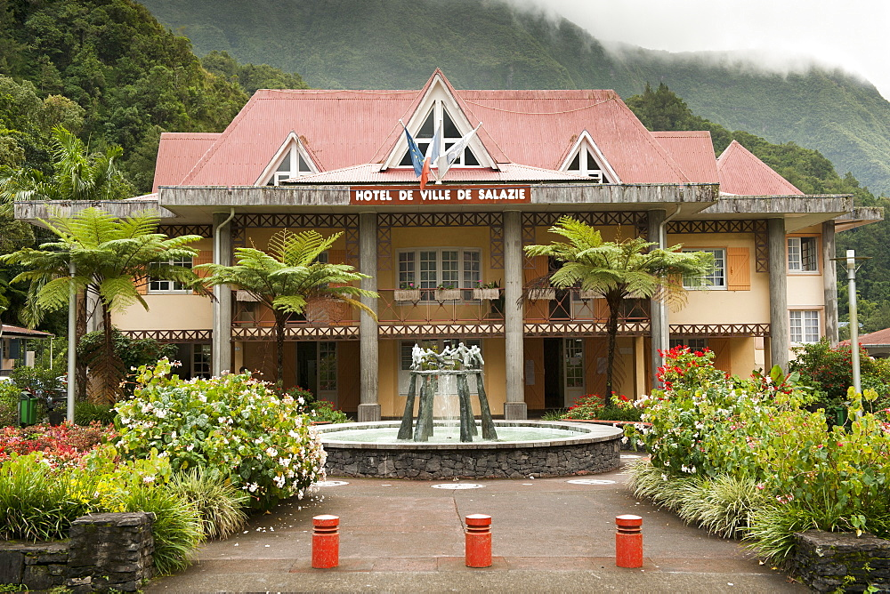 The Salazie Hotel de Ville (town hall) on the French island of Reunion in the Indian Ocean, Africa
