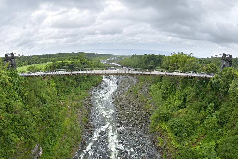 Pont Suspendu (suspension bridge) on the French island of Reunion in the Indian Ocean, Africa
