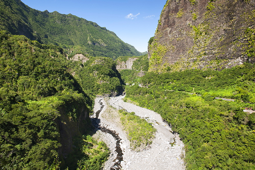 Landscape along the road to the Cirque de Cilaos caldera on the French island of Reunion in the Indian Ocean, Africa