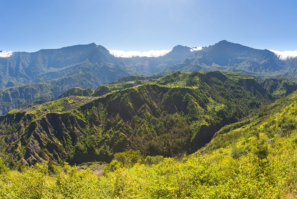The Cirque de Cilaos caldera on the French island of Reunion in the Indian Ocean, Africa