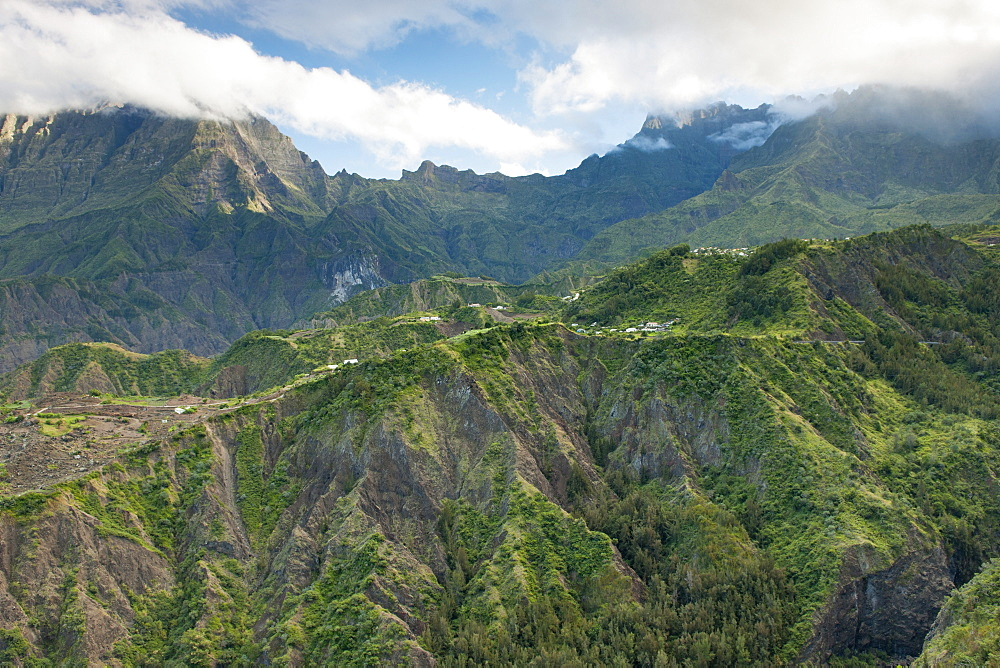 The Cirque de Cliaos caldera on the French island of Reunion in the Indian Ocean, Africa