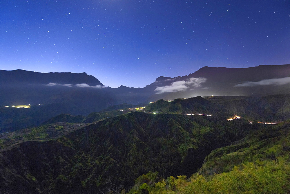 Night view of the Cirque de Cilaos caldera on the French island of Reunion in the Indian Ocean, Africa