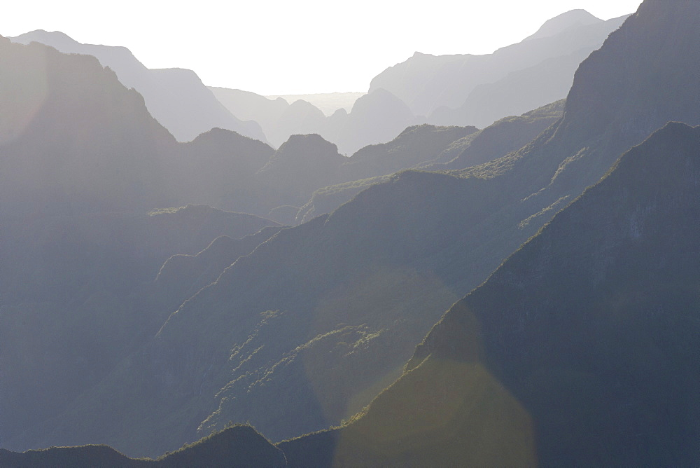 Mountain ridges of the Cirque de Mafate caldera on the French island of Reunion in the Indian Ocean, Africa
