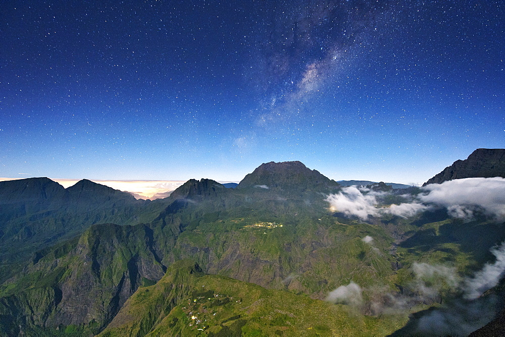 Night-time view of the Cirque de Mafate caldera on the French island of Reunion in the Indian Ocean, Africa