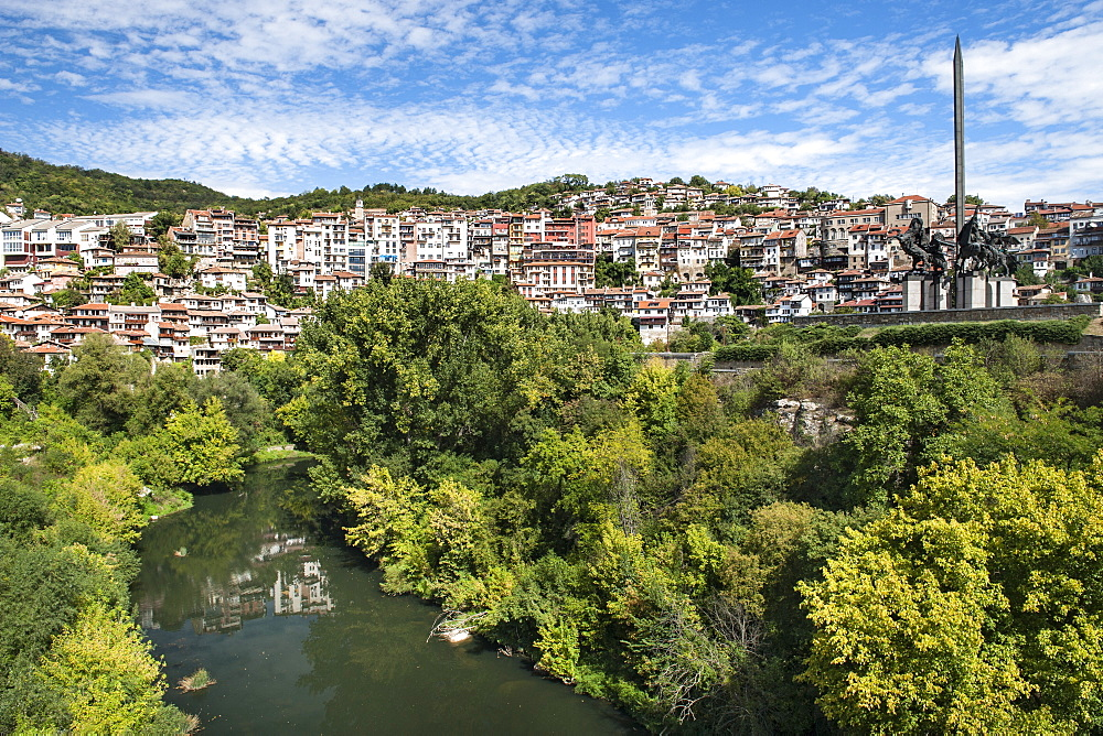 View of the Yantra River and houses of the city of Veliko Tarnovo in Bulgaria, Europe