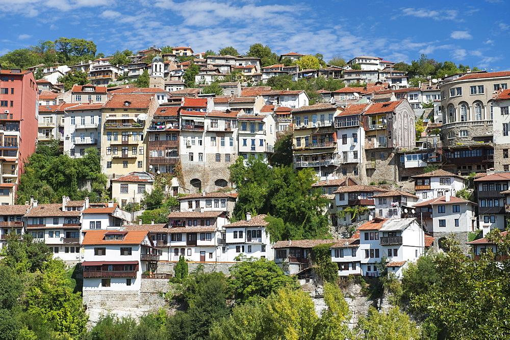 Houses on the hills of Veliko Tarnovo in Bulgaria, Europe