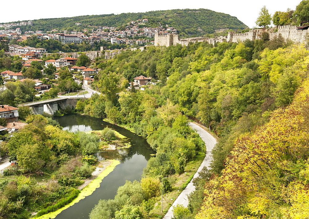 The Tsarevets fortress and Yantra River in Veliko Tarnovo in Bulgaria, Europe