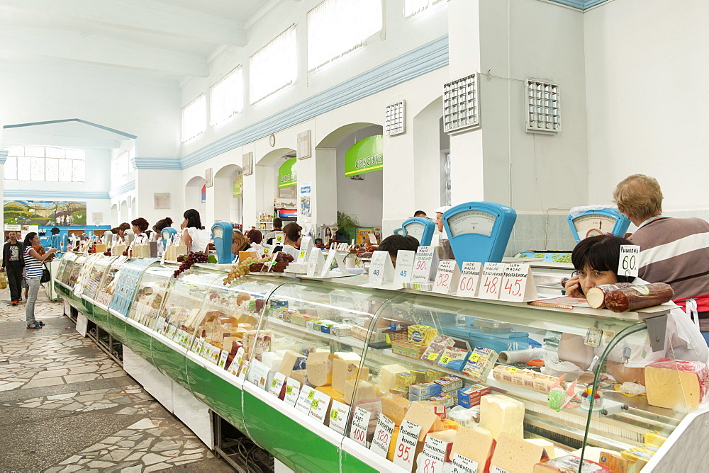 Interior of the dairy and delicatessen market in Chisinau, the capital of Moldov, Europe