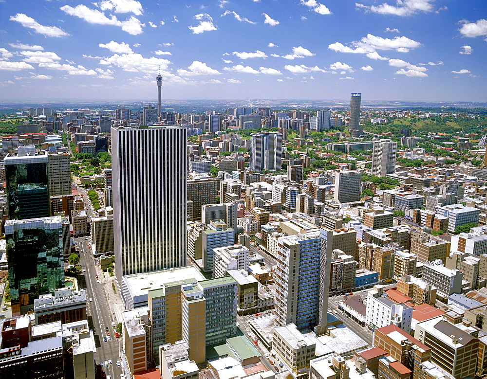 A view of Johannesburg CBD and the northern suburbs as seen from the top floor of the Carlton Centre, Johannesburg, South Africa, Africa