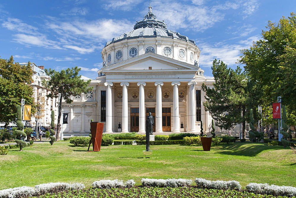 The Romanian Atheneum, inaugurated in 1888, a concert hall and landmark in central Bucharest, Romania, Europe