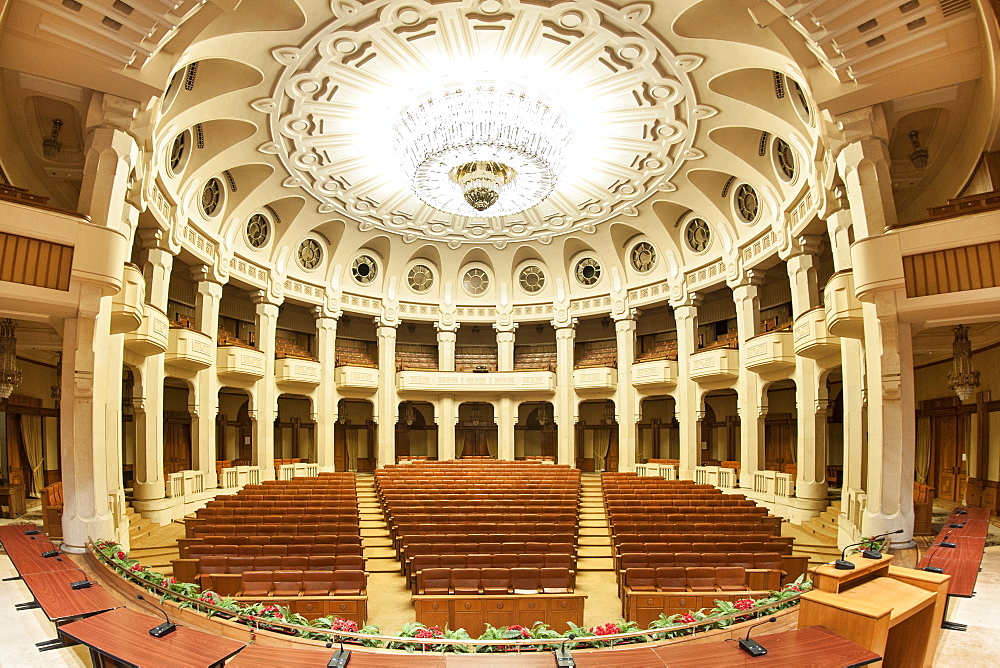 Interior of the Palace of the Parliament (Ceausescu's Palace) in Bucharest, Romania, Europe