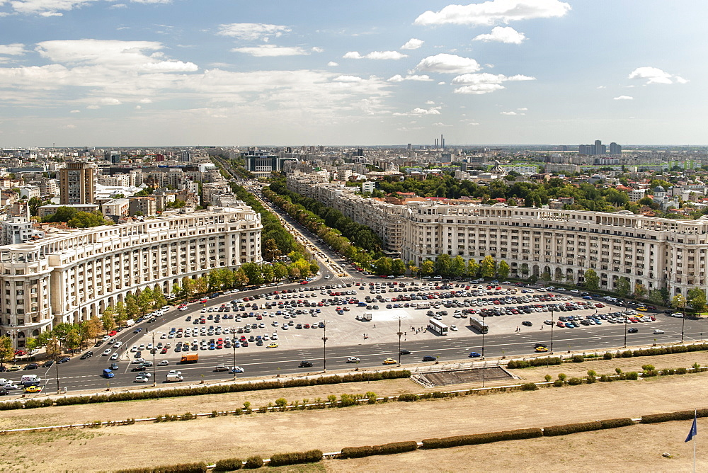 View across Bucharest and Unification Boulevard from the Palace of the Parliament in Bucharest, the capital of Romania, Europe