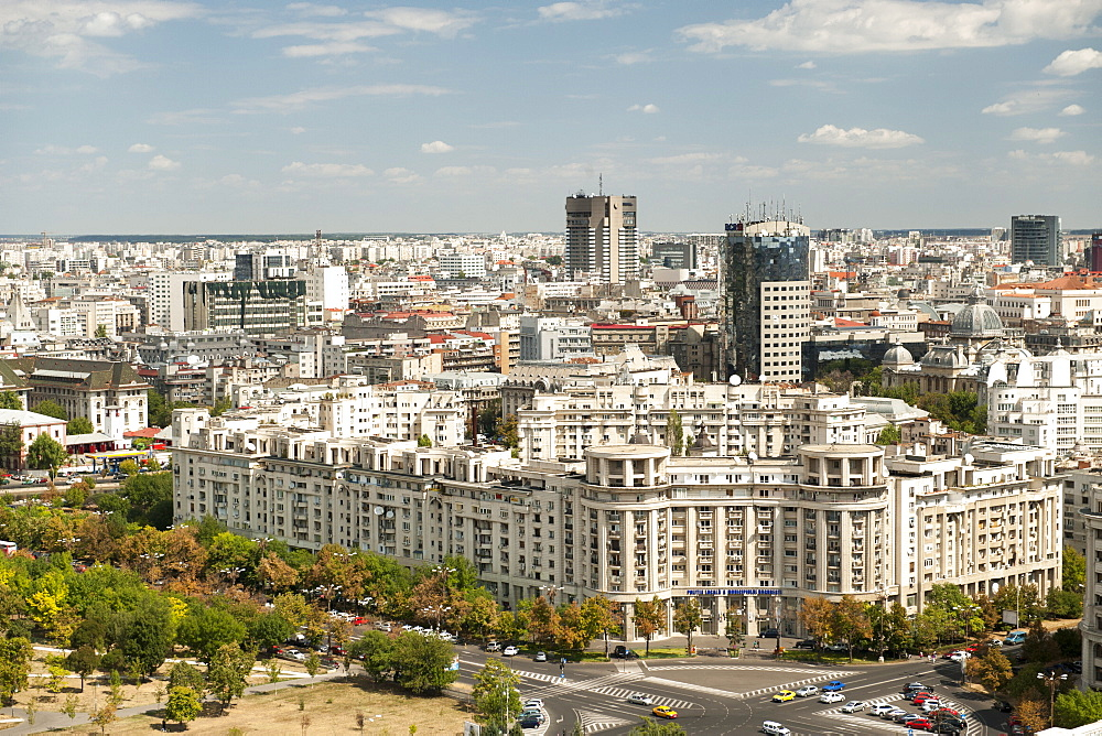View across Bucharest from the roof of the Palace of the Parliament in Bucharest, Romania, Europe