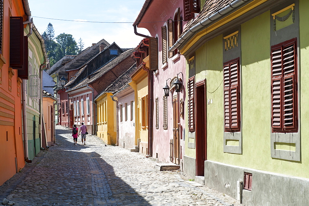 Houses in the citadel of Sighisoara, UNESCO World Heritage Site, in the Transylvania region of central Romania, Europe - 829-2056