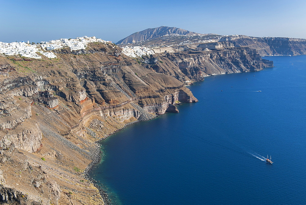 View of the coastline and houses of Fira and Firstefani on the Greek island of Santorini, Cyclades, Greek Islands, Greece, Europe - 829-2098