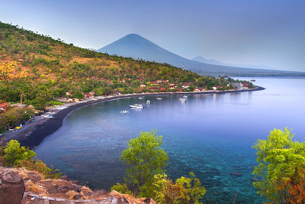 Stock travel photo of of Mount Agung and Jemulek beach, Bali