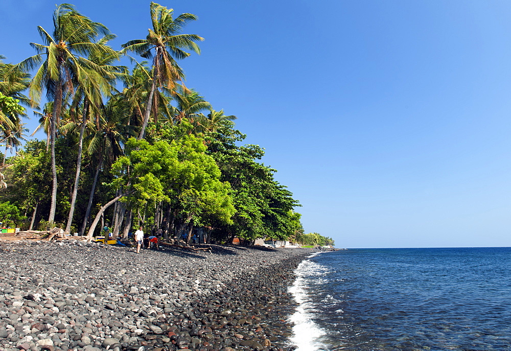 The rocky beach at Tulamben near Amed on the northeastern coast of Bali, Indonesia.