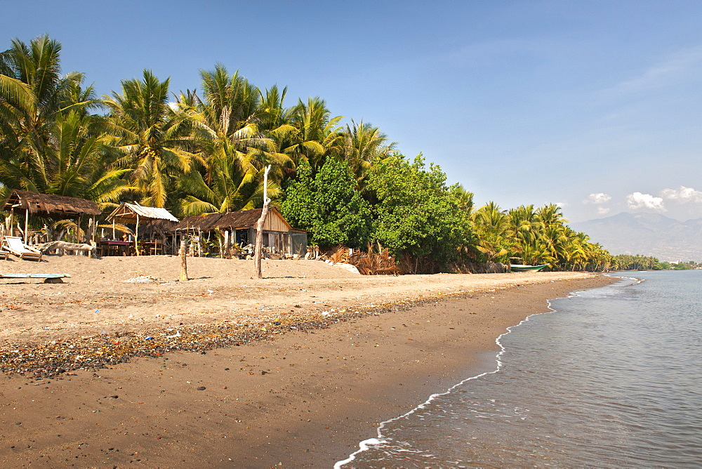 View along the beach of Maumere on the island of Flores, Indonesia.