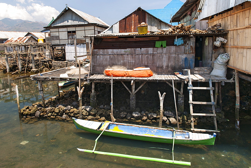 Coastal houses of Wuring fishing village near Maumere on Flores island, Indonesia.
