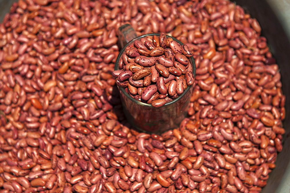 Red beans for sale in the market of Wuring fishing village near Maumere on Flores island, Indonesia.