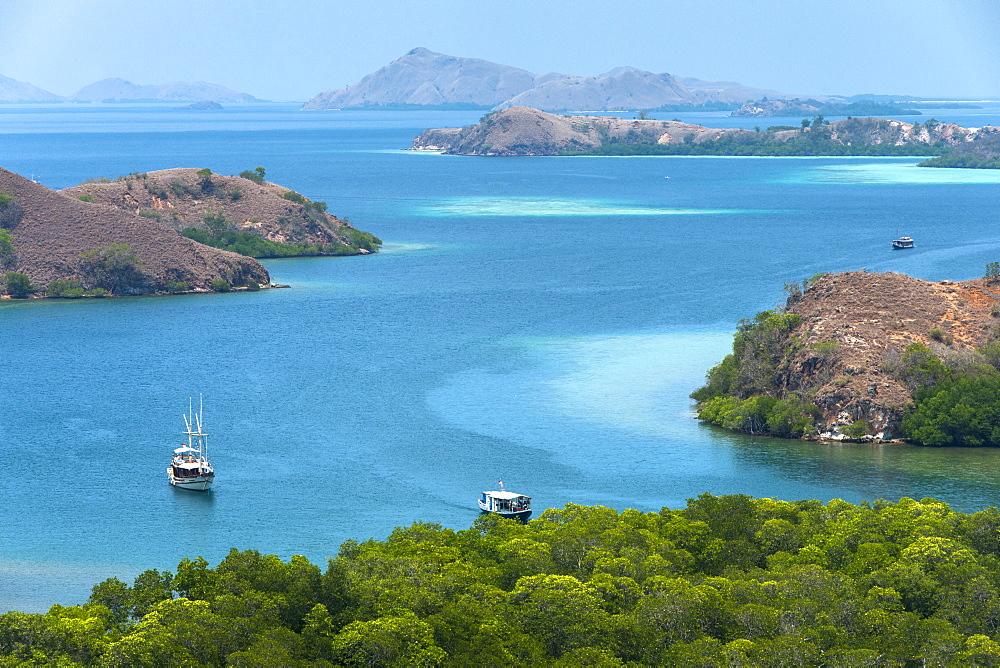 The coastline of Rinca island in the East Nusa Tenggara region of Indonesia.
