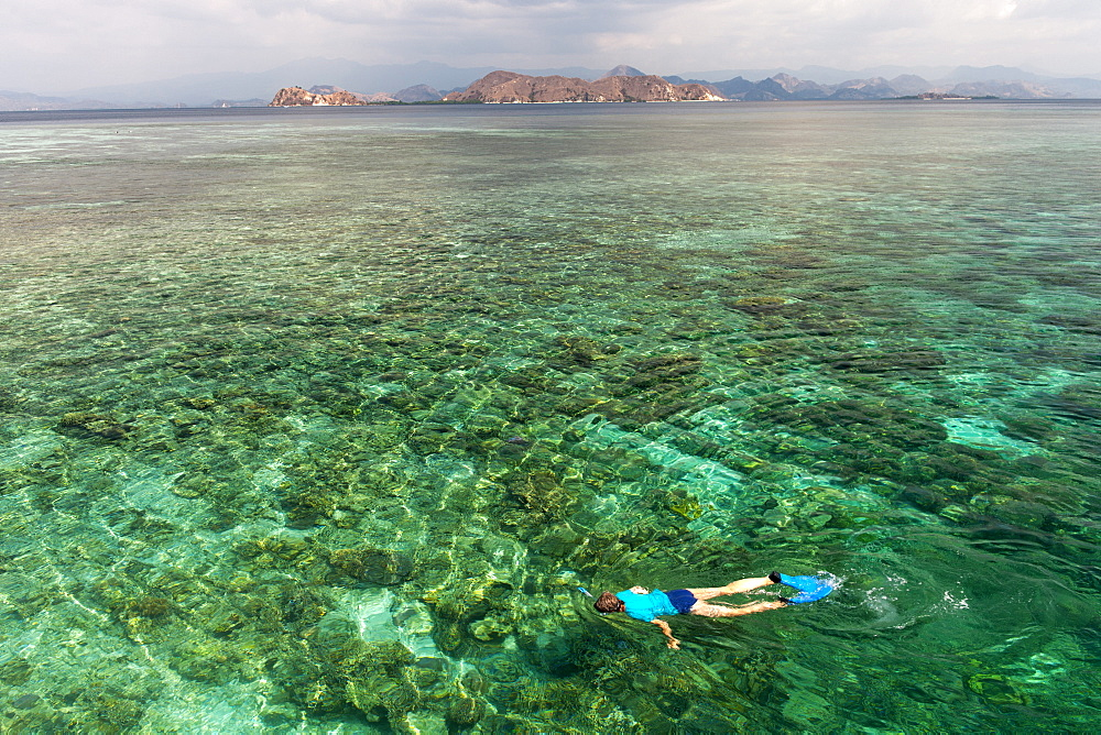 A tourist snorkeling in the waters off the western coast of Flores island, Indonesia. - 829-2158