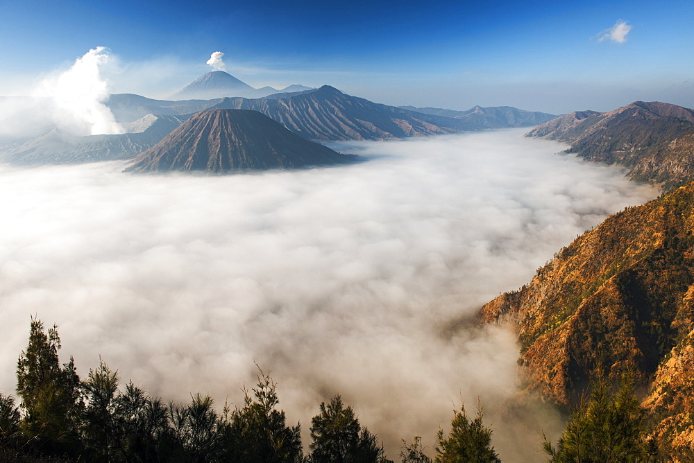 Mount Bromo (venting steam far left) and Gunung Semeru (background) in Bromo Tengger Semeru National Park, Java, Indonesia.