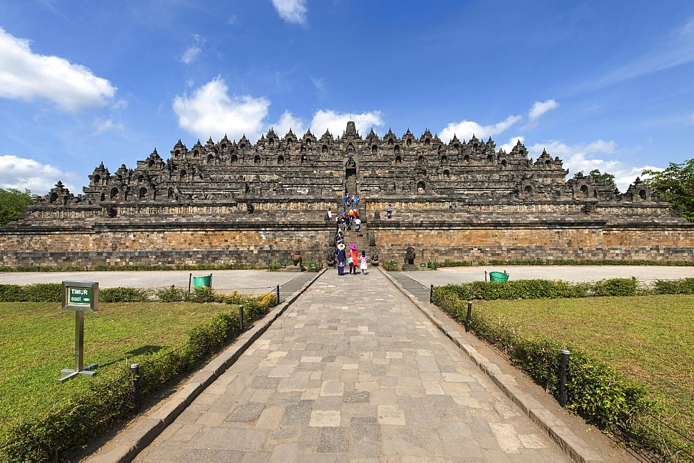 Borobodur, a 9th-century Buddhist Temple in Magelang, near Yogyakarta in central Java, Indonesia.